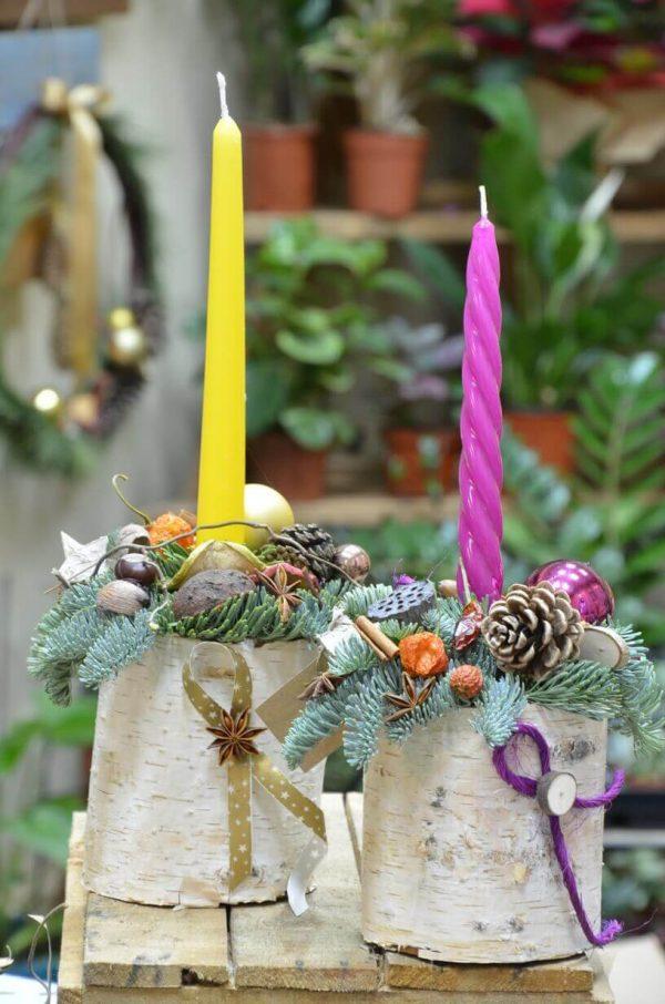 Новогодняя композиция со свечами в Гомеле